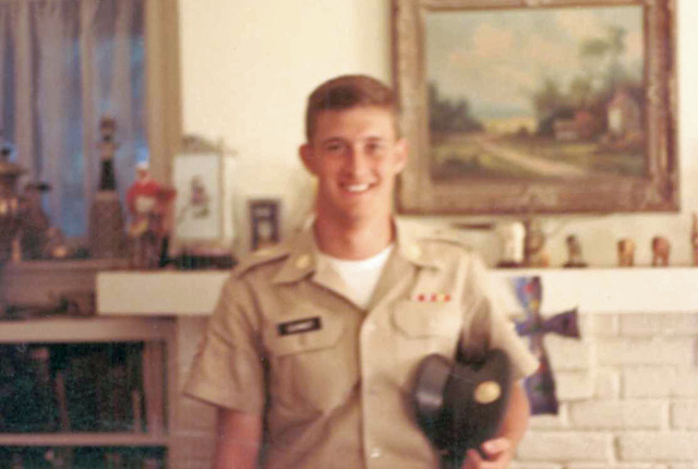 U.S. Army soldier, Pfc Austin Schmidt, poses in his Class A uniform while on leave following completion of basic training in1969. (Photo courtesy of Col. Austin Schmidt - retired - to the Las Vega ...