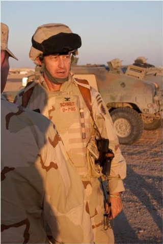 U.S. Army Reserve soldier, Col. Austin Schmidt, talks to troops while serving a tour in Iraq in 2006. (Photo courtesy of Col. Austin Schmidt - retired - to the Las Vegas Review-Journal)