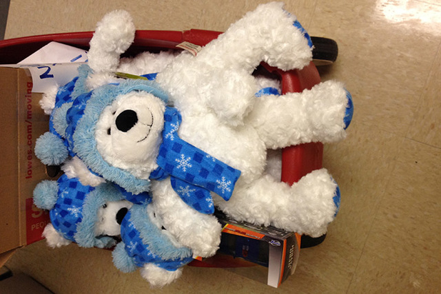 A teddy bear donated by Jared-The Galleria of Jewelry was one of two gifts given by Nevada Highway Patrol to children at Las Vegas Valley hospitals on Wednesday. (Chris Kudialis/Las Vegas Review-J ...