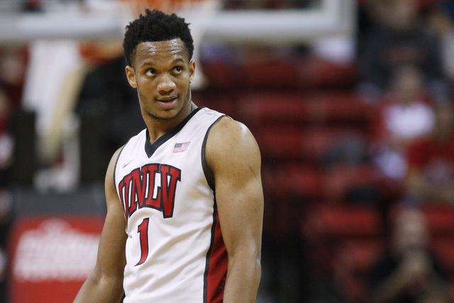 UNLV guard Rashad Vaughn checks the score board during their game against Albany Saturday, Nov. 29, 2014 at the Thomas & Mack Center. (Sam Morris/Las Vegas Review-Journal)