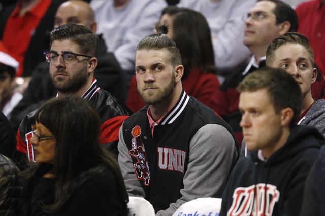 Washington Nationals slugger and Las Vegas native Bryce Harper watches UNLV take on Arizona Tuesday, Dec. 23, 2014 at the Thomas & Mack Center. (Sam Morris/Las Vegas Review-Journal)