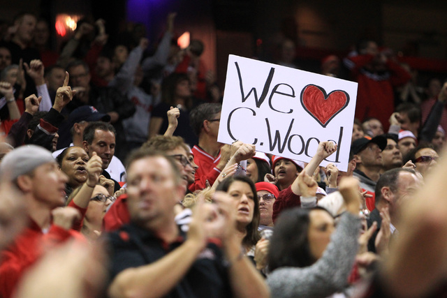 A Christian Wood fan holds up a sign during UNLV's game against Arizona Tuesday, Dec. 23, 2014 at the Thomas & Mack Center. (Sam Morris/Las Vegas Review-Journal)