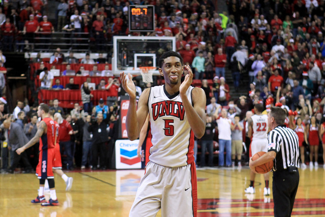 UNLV forward Christian Wood claps in the final second of  their 71-67 upset of Arizona Tuesday, Dec. 23, 2014 at the Thomas & Mack Center. (Sam Morris/Las Vegas Review-Journal)