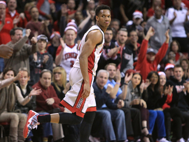 UNLV guard Rashad Vaughn looks back over his shoulder after draining a 3-point shot during their game Tuesday, Dec. 23, 2014 at the Thomas & Mack Center. (Sam Morris/Las Vegas Review-Journal)
