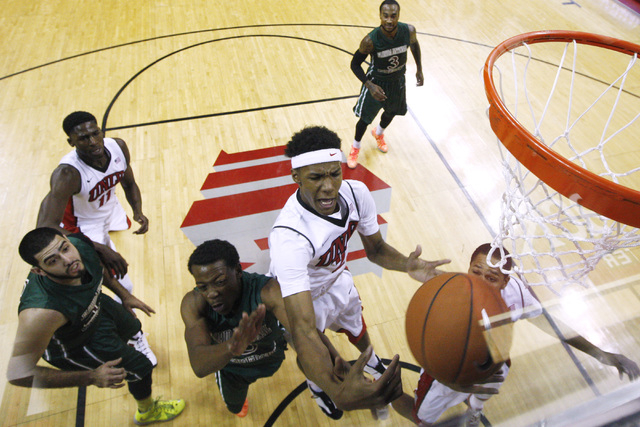 UNLV guard Patrick McCaw grabs a rebound from Florida National University during their exhibition game Wednesday, Nov. 5, 2014 at the Thomas & Mack Center in Las Vegas. UNLV won the game 100-65. ( ...