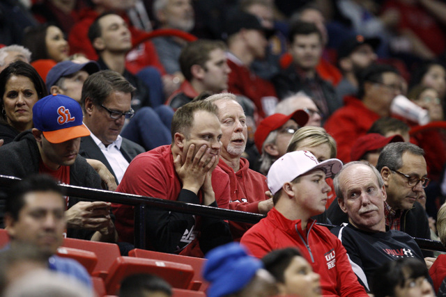 UNLV fans watch the second half of their game against Portland Wednesday, Dec. 17, 2014 at the Thomas & Mack Center. UNLV won 75-73 in overtime. (Sam Morris/Las Vegas Review-Journal)