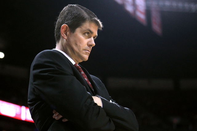 UNLV head coach Dave Rice reacts after an Rebel offensive turnover during the second half of their game against Portland Wednesday, Dec. 17, 2014 at the Thomas & Mack Center. UNLV won 75-73 in ove ...