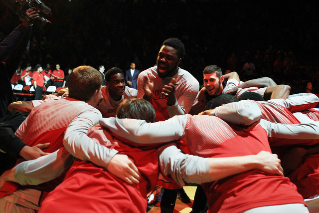 UNLV guard Jordan Cornish gets his team amped up before their game against Portland Wednesday, Dec. 17, 2014 at the Thomas & Mack Center. (Sam Morris/Las Vegas Review-Journal)