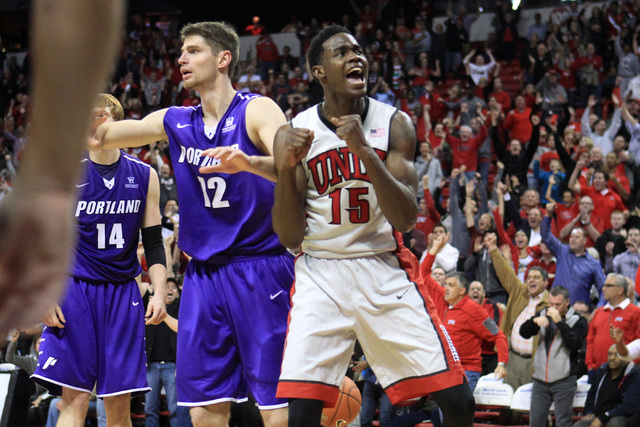 during the second half of their game Wednesday, Dec. 17, 2014 at the Thomas & Mack Center. UNLV won 75-73 in overtime. (Sam Morris/Las Vegas Review-Journal)