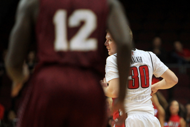 UNLV guard Dantley Walker looks over his shoulder after hitting a 3-point shot against Saint Katherine during their game Friday, Dec. 5, 2014 at the Orleans Arena. (Sam Morris/Las Vegas Review-Jou ...