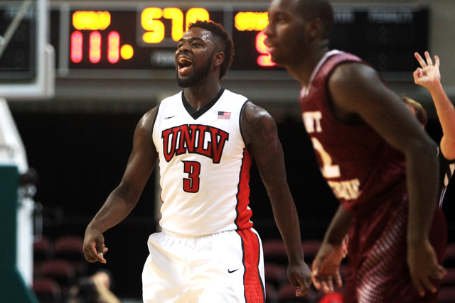 UNLV guard Jordan Cornish reacts after his successful 3-point shot against Saint Katherine during their game Friday, Dec. 5, 2014 at the Orleans Arena. UNLV won the game 113-53. (Sam Morris/Las Ve ...