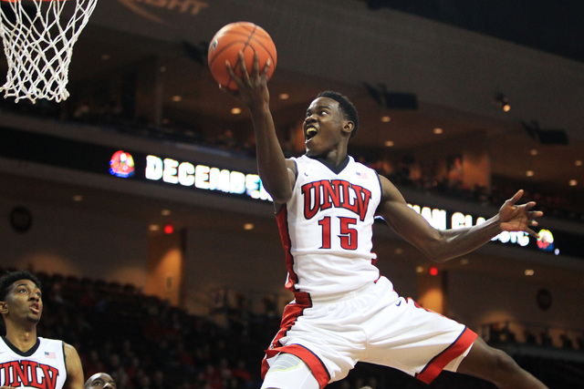 UNLV forward Dwayne Morgan drives to the basket against Saint Katherine during their game Friday, Dec. 5, 2014 at the Orleans Arena. UNLV won the game 113-53. (Sam Morris/Las Vegas Review-Journal)
