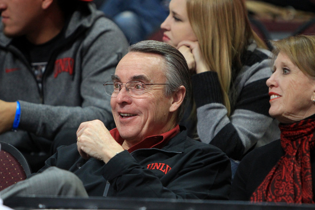 Interim UNLV President Don Snyder watches the Rebels take on Saint Katherine during their game Friday, Dec. 5, 2014 at the Orleans Arena. UNLV won the game 113-53. (Sam Morris/Las Vegas Review-Jou ...