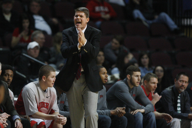 After a series of early miscues, UNLV head coach Dave Rice yells at his players during their game against Saint Katherine Friday, Dec. 5, 2014 at the Orleans Arena. UNLV won the game 113-53. (Sam  ...