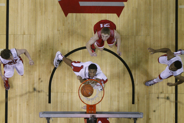 UNLV forward Christian Wood drops in two of his 22 points during their game against Southern Utah Saturday, Dec. 27, 2014 at the Thomas & Mack Center. UNLV won the game 79-45. (Sam Morris/Las Vega ...