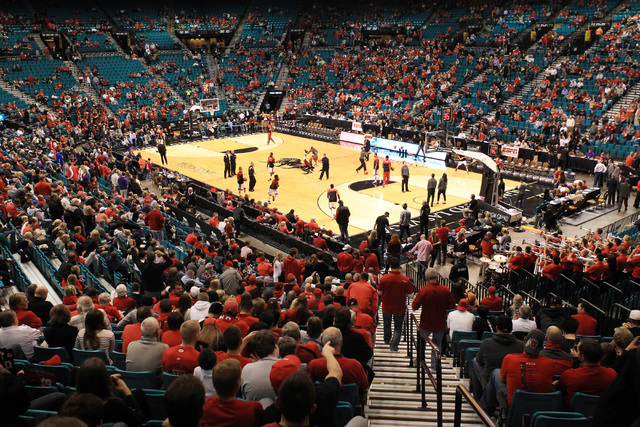 UNLV warms up before their first ever game on the Strip at the MGM Grand against Utah Saturday, Dec. 20, 2014. (Sam Morris/Las Vegas Review-Journal)