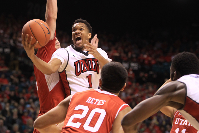 UNLV guard Rashad Vaughn drives in for a layup against Utah during their MGM Grand Showcase game Saturday, Dec. 20, 2014. (Sam Morris/Las Vegas Review-Journal)