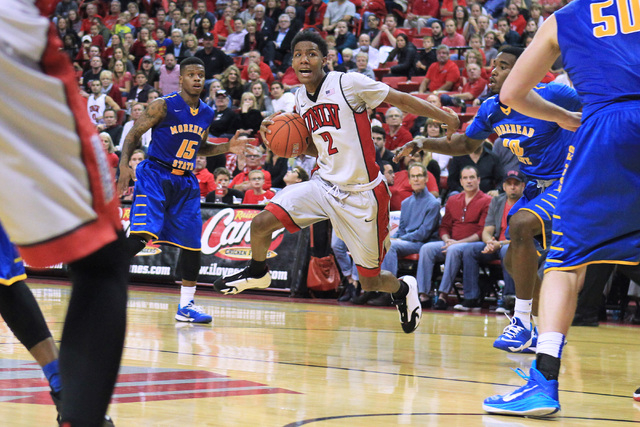 UNLV guard Patrick McCaw makes his move towards the basket during the Rebels home opener against Morehead State Friday, Nov. 14, 2014 at the Thomas & Mack Center. (Sam Morris/Las Vegas Review-Journal)