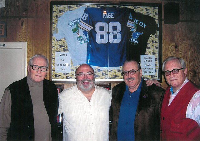 From left, Page Education Foundation representative Dean Oberpriller, Blue Ox Tavern owner Ron Aronsohn, foundation contributor Paul Clarkson and Page Education Foundation representative Dan Oberp ...