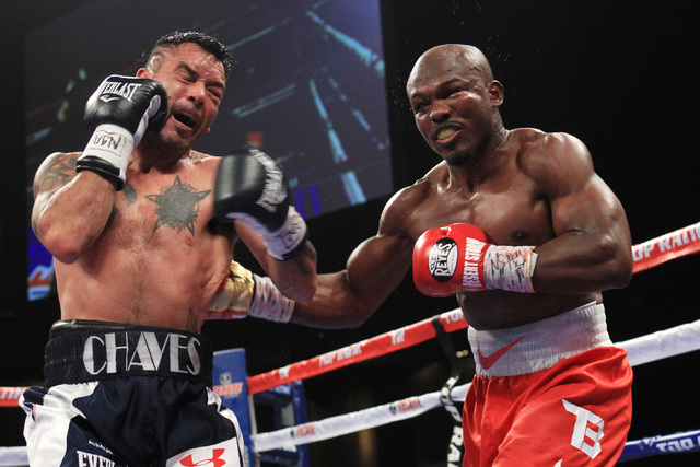 Timothy Bradley hits Diego Chaves with a right to the body during their fight Saturday, Dec. 13, 2015 at the Cosmopolitan. After 12 rounds, the fight ended in a draw. (Sam Morris/Las Vegas Review- ...