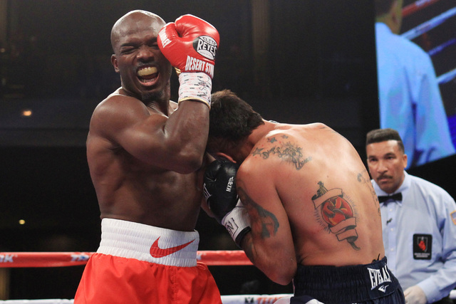 Timothy Bradley reacts after an accidental head but from Diego Chaves during their fight Saturday, Dec. 13, 2015 at the Cosmopolitan. After 12 rounds, the fight ended in a draw. (Sam Morris/Las Ve ...