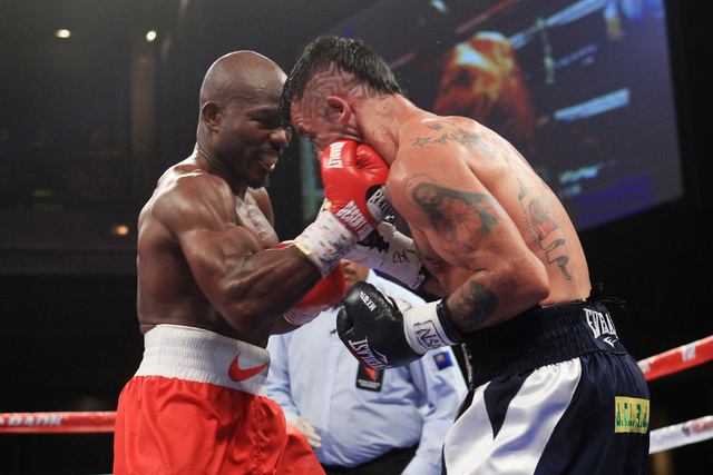 Timothy Bradley hits Diego Chaves with a right uppercut during their fight Saturday, Dec. 13, 2015 at the Cosmopolitan. After 12 rounds, the fight ended in a draw. (Sam Morris/Las Vegas Review-Jou ...