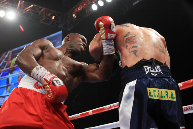 Timothy Bradley throws a left uppercut at Diego Chaves during their fight Saturday, Dec. 13, 2015 at the Cosmopolitan. After 12 rounds, the fight ended in a draw. (Sam Morris/Las Vegas Review-Journal)