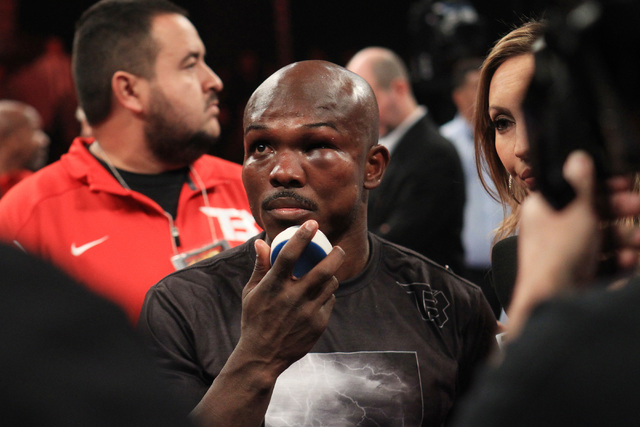 Timothy Bradley's left eye is nearly swollen shut after his fight with Diego Chaves Saturday, Dec. 13, 2015 at the Cosmopolitan. After 12 rounds, the fight ended in a draw. (Sam Morris/Las Vegas R ...