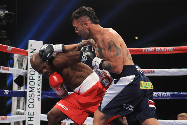 Diego Chaves hits Timothy Bradley with a right during their fight Saturday, Dec. 13, 2015 at the Cosmopolitan. After 12 rounds, the fight ended in a draw. (Sam Morris/Las Vegas Review-Journal)
