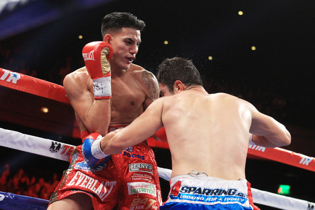 Mauricio Herrera throws a left to the body of Jose Benavidez  during their fight Saturday, Dec. 13, 2015 at the Cosmopolitan. (Sam Morris/Las Vegas Review-Journal)