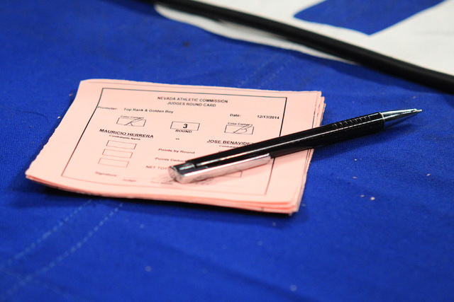 A judge's score card is seen between rounds of Mauricio Herrera and Jose Benavidez's their fight Saturday, Dec. 13, 2015 at the Cosmopolitan. (Sam Morris/Las Vegas Review-Journal)