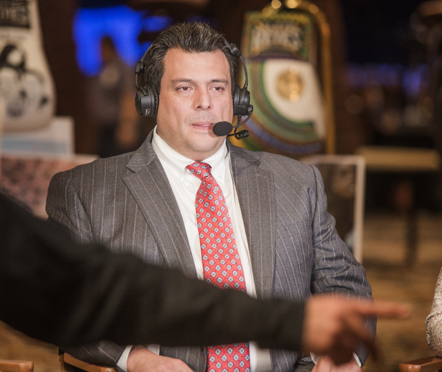 WBC president Mauricio Sulaiman during a TV interview in the Events Center at The Mirage hotel-casino on Monday, Dec. 15, 2014. Sulaiman was appointed president after his father and longtime WBC p ...