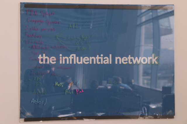 A poster is seen inside The Influential Network office space in Las Vegas is seen on Thursday, Nov. 20, 2014. The Influential Network is a social media marketing company that promotes brands onlin ...