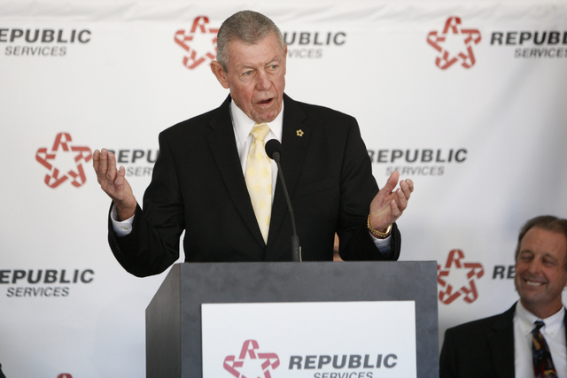 Bob Coyle, vice president of government affairs for Republic Services, speaks during a groundbreaking ceremony for the new Southern Nevada Recycling Complex in North Las Vegas Thursday, Nov. 6, 21 ...