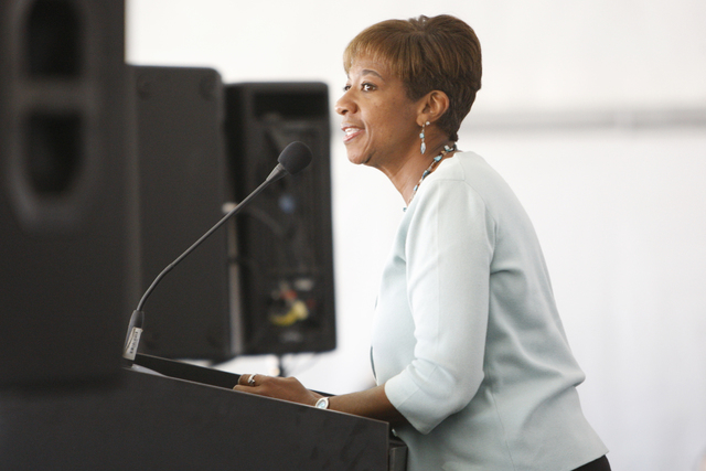 Ward 2 Councilwoman Pamela Goynes-Brown speaks during a groundbreaking ceremony for the new Southern Nevada Recycling Complex in North Las Vegas Thursday, Nov. 6, 2104. The facility will be locate ...