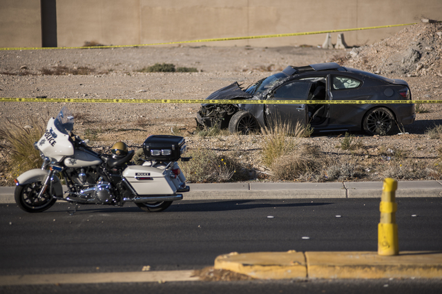 The vehicle of a man suspected of a string of robberies crashed in a dirt lot after officers stopped the suspect's vehicle shortly after 5 a.m. from the corner of Desert Inn and Fort Apache in Las ...