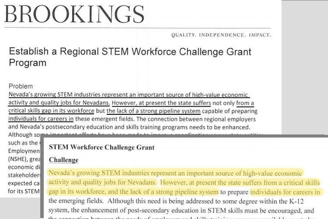 Samples shown here from the Brookings report and the NHSE document (overlay) show identical language.