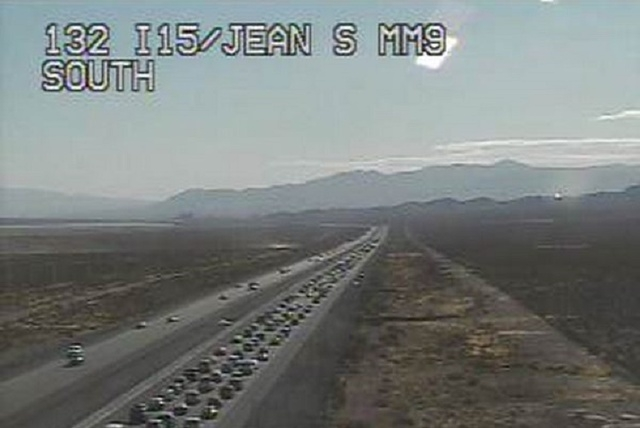 Traffic cameras show heavy traffic on southbound Interstate 15 near Jean, Sunday afternoon, Nov. 30, 2014. (Courtesy, NDOT)