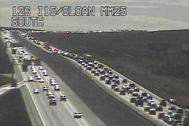 Traffic cameras show heavy traffic on southbound Interstate 15 near Sloan, Sunday afternoon, Nov. 30, 2014. (Courtesy, NDOT)