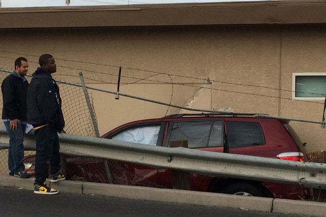 The driver of an SUV said she was rear-ended by a car, which caused her to crash into a building in the 1500 block of South Industrial Road about 1 p.m. Thursday, Dec. 11, 2014. No injuries were r ...