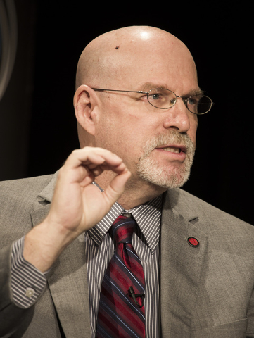 Mark Newburn, member of the State Board of Education,  speaks during the K-12 Education Policy Committee panel discussion at Vegas PBS, 3050 E Flamingo, on Tuesday, Dec. 16, 2014. The Las Vegas Me ...