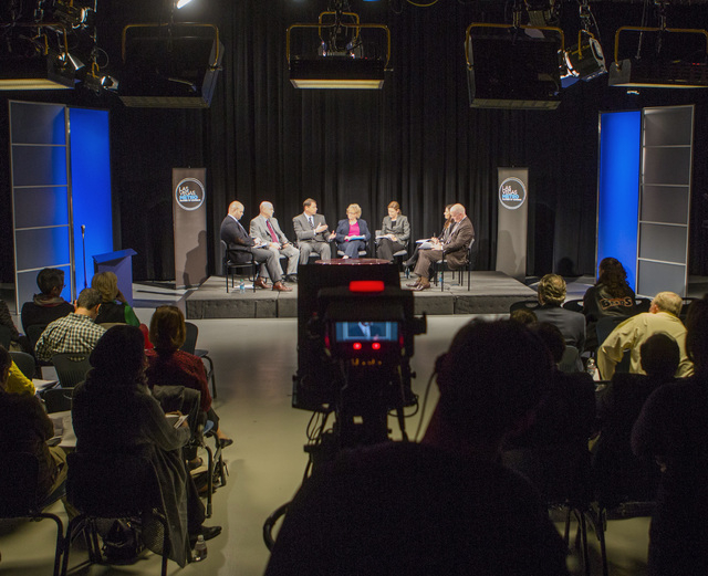 A studio audience listens during the K-12 Education Policy Committee panel discussion sponsored by the Las Vegas Metro Chamber of Commerce,Tuesday, Dec. 16, 2014,  at  Vegas PBS, 3050 E Flamingo.  ...