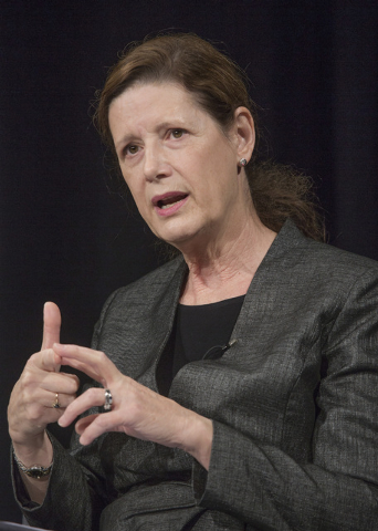 Beth Wells, executive director of Nevada STEM Coalition, speaks during the K-12 Education Policy Committee panel discussion at Vegas PBS, 3050 E. Flamingo Road, on Tuesday, Dec. 16, 2014. The Las  ...