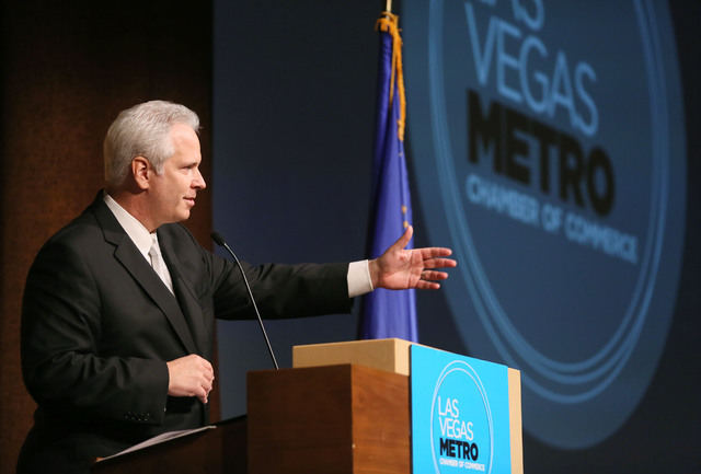 Bob Brown speaks after being sown in as Las Vegas Metro Chamber of Commerce during the Las Vegas Metro Chamber Installation Luncheon at Aria hotel-casino Tuesday, Dec. 2, 2014, in Las Vegas. Brown ...