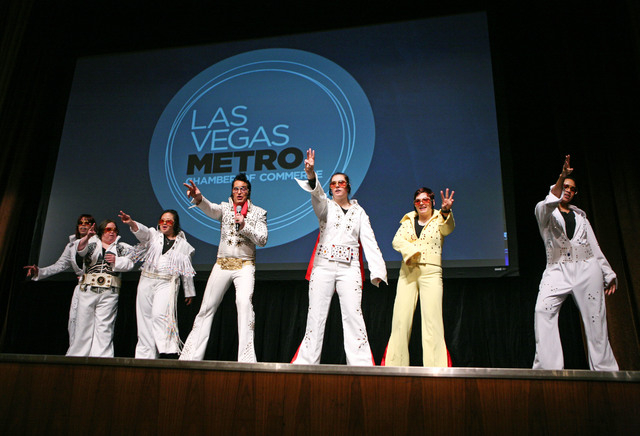 Opportunity Village's dance troupe OV ELVI perform during the Las Vegas Metro Chamber Installation Luncheon at Aria hotel-casino Tuesday, Dec. 2, 2014, in Las Vegas. Brown, who is president of Opp ...