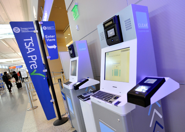 A Clear airport security kiosk is seen at McCarran International Airport terminal three on Tuesday, Dec. 9, 2014, in Las Vegas. The service allows passengers to skip to the TSA pre-check line and  ...