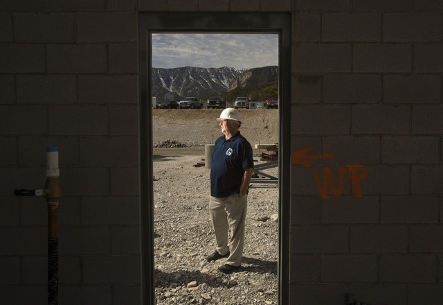 Steve Ririe, chairman of the Silent Heros of the Cold War Memorial, stands  at the Spring Mountain Visitor Gateway under construction on the Kyle Canyon Road approaching Mount Charleston,Tuesday,  ...