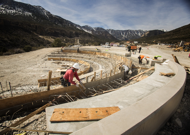 Amphitheatre under construction  at the Spring Mountain Visitor Gateway as seen on the Kyle Canyon Road approaching Mount Charleston,Tuesday, Feb. 18,2014. The gateway center will also  house the  ...