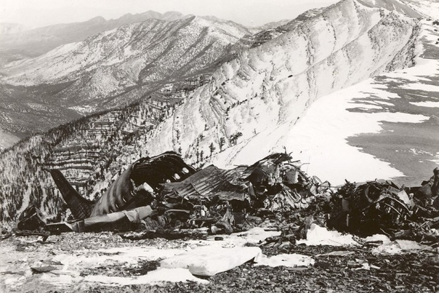 Wreckage of a 1955 CIA flight that crashed near the peak of Mt. Charleston on its way to Area 51. The crash will be commemorated at a National Cold War Memorial which will be constructed in Kyle C ...