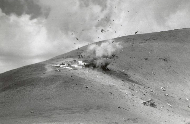 Explosion of the wreckage of a 1955 CIA flight that crashed near the peak of Mt. Charleston on its way to Area 51. The crash will be commemorated at a National Cold War Memorial which will be cons ...